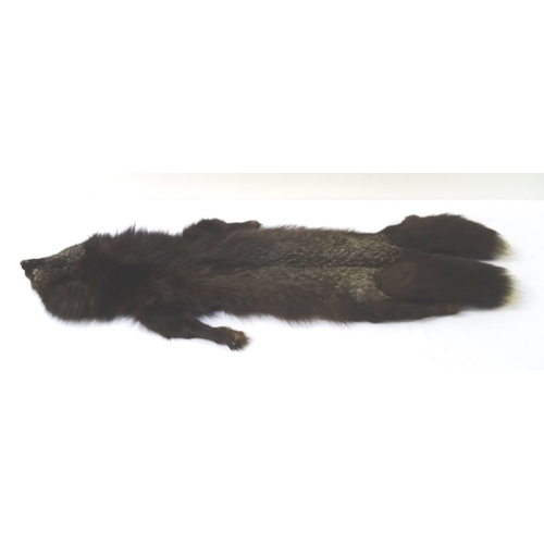 400 - VINTAGE FOX STOLE with clip closure and with head, tail and legs, 144cm long, together with another ...