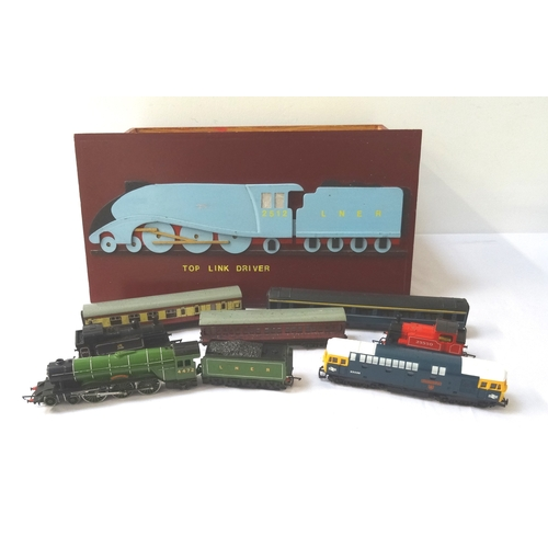 419 - HAND BUILT WOODEN LOCOMOTIVE STORAGE BOX the lid decorated with the steam train Silver Fox LNER 2512...