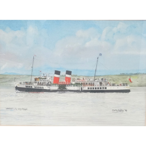 478 - MARTIN CONWAY Waverley in the Largs channel, gouache and watercolour, signed and dated '87, 40cm x 5...