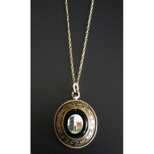 12 - VICTORIAN MICRO MOSAIC PENDANT in unmarked gold mount and on nine carat gold chain...