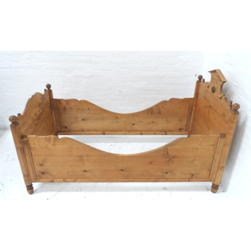 571 - LATE VICTORIAN CONTINENTAL SINGLE BED with a shaped head and foot board marked A.M. 1893, with shape...
