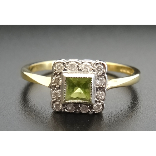14 - PERIDOT AND DIAMOND CLUSTER DRESS RING the central princess cut peridot in square surround set with ...