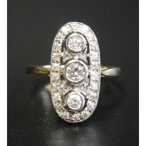 43 - IMPRESSIVE ART DECO STYLE DIAMOND PLAQUE RING the diamonds in pierced oval setting totalling approxi...