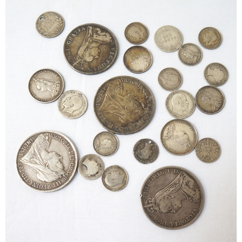 437 - SELECTION OF PRE-1920 BRITISH SILVER COINS including 3x Crowns - 1890, 1893 and 1898, 1x double Flor...