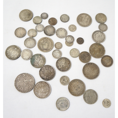 439 - SELECTION OF WORLD SILVER COINS silver content ranging from .925 to .500, including a 1921 United St...