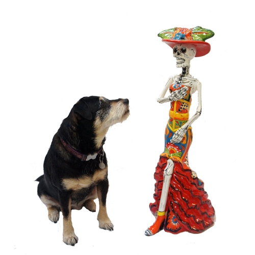 206 - LARGE DAY OF THE DEAD STYLE CERAMIC FIGURINE the skeleton dressed in colourful dress and hat, 73cm h...