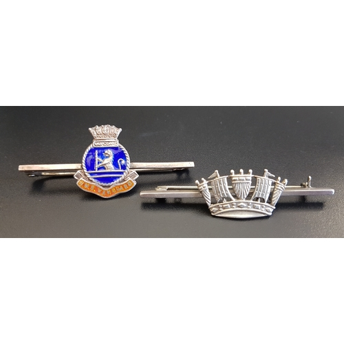 97 - TWO SILVER SWEETHEART BROOCHES the enamel decorated example marked 'HMS Vanguard', the other in unma...