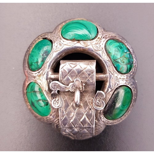 125 - VICTORIAN SCOTTISH MALACHITE SET SILVER BROOCH with five stone sections and engraved buckle detail, ...