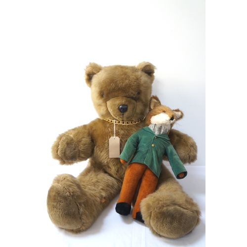 421 - REAL SOFT TOYS CHILDS TEDDY BEAR with outstretched arms and gold coloured neck chain 90cm high, toge...