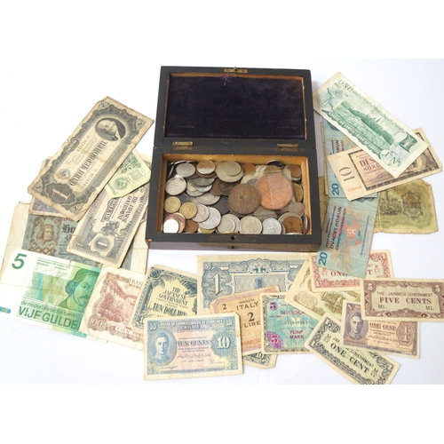 440 - SLECTION OF BRITISH AND WORLD COINS AND BANKNOTES including some coins from 19th century, a Farmers ...