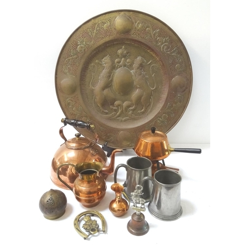 271 - LARGE SELECTION OF COPPER AND BRASSWARE including a toddy kettle, table gong, fondue set, large char...