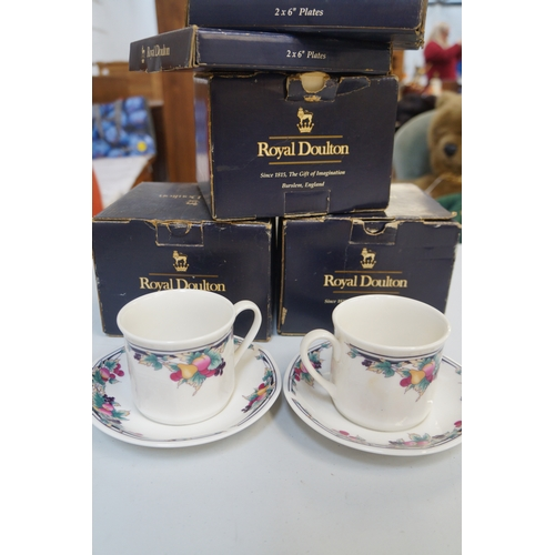 224 - SELECTION OF BOXED ROYAL DOULTON comprising three sets of two cups and saucers in the Autumn's Glory...