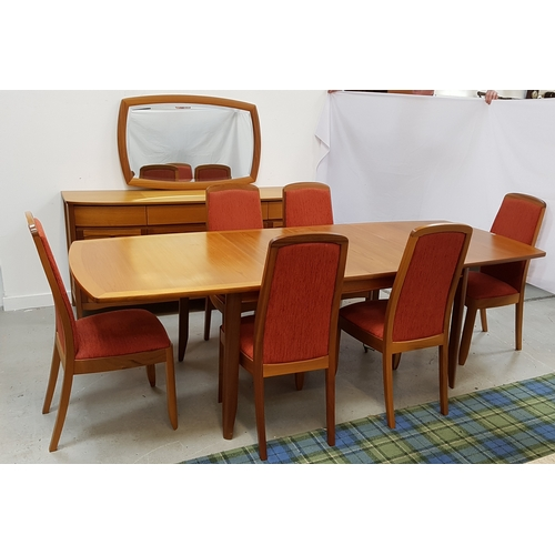 482 - NATHAN TEAK DINING ROOM SUITE comprising an extending shaped dining table standing on shaped support...
