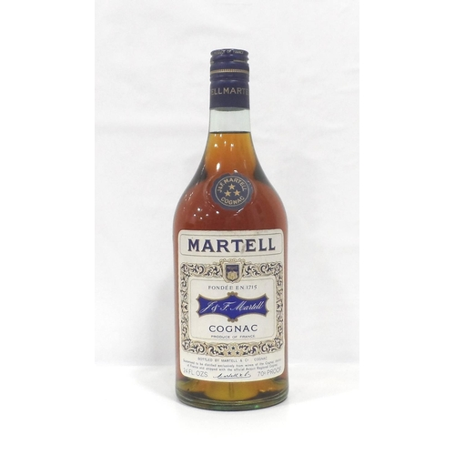 8 - MARTELL 3 STAR COGNAC CIRCA 1970 An older bottle of Martell 3 star Cognac from the early 1970s.  24 ...