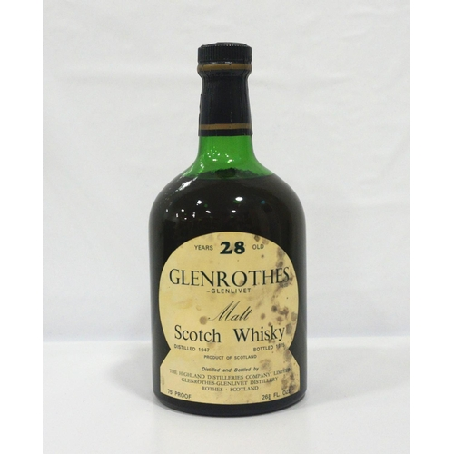 12 - GLENROTHES-GLENLIVET 28YO An extremely rare bottle of Glenrothes-Glenlivet Single Malt Scotch Whisky...