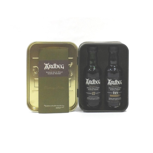 26 - ARDBEG MINIATURE TIN A great wee tin with two miniatures: one Ardbeg 17 Year Old Single Malt Scotch ...