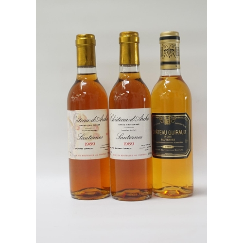 46 - THREE BOTTLES OF VINTAGE SAUTERNES A selection of three bottles of Sauternes, comprising: two bottle...