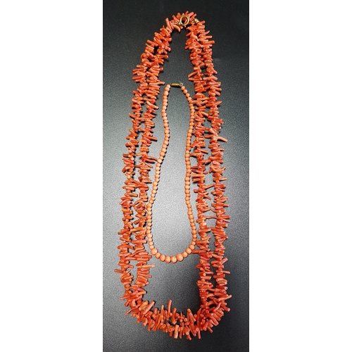 59 - CORAL BRANCH NECKLACE 129cm long; together with a graduated coral bead necklace, 36cm long - RE-OFFE...