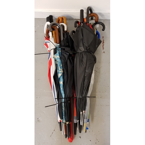 75 - SELECTION OF TWENTY-FIVE UMBRELLAS including: golf & stick styles....