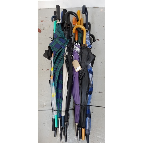 73 - SELECTION OF TWENTY-TWO UMBRELLAS including: golf & stick styles....
