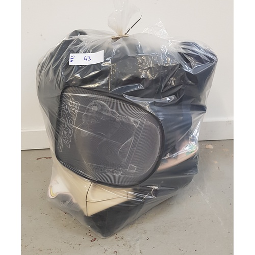 43 - ONE BAG OF VARIOUS BAGS including: handbags; toiletry bags; rucksacks; etc....