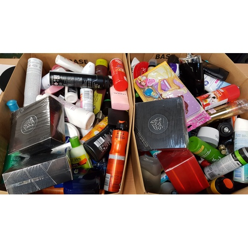 38 - TWO BOXES OF USED AND NEW TOILETRY ITEMS including: LACOSTE; L'OREAL; CALVIN KLEIN; JOOP!; MONTBLANC...