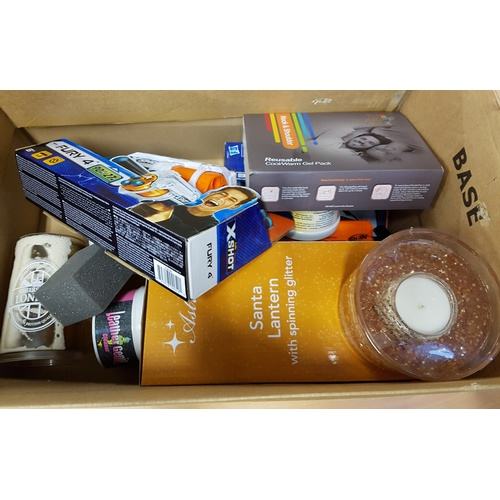 36 - ONE BOX OF MISCELLANEOUS ITEMS including: SCENTED CANDLE; SANTA LANTERN; NERF GUN; MAGIC 8 BALL; SOU...