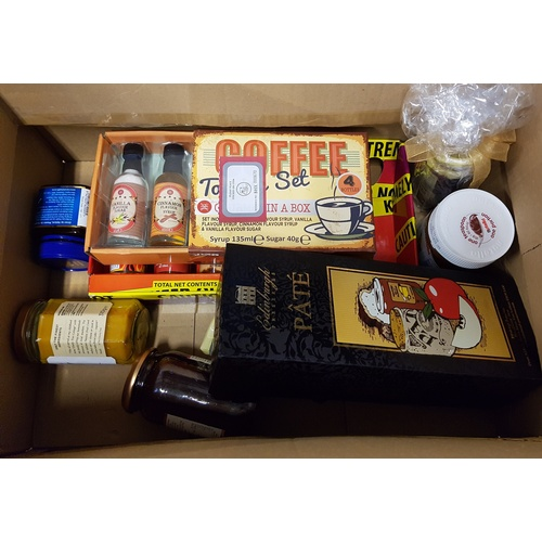 35 - ONE BOX OF CONSUMABLE ITEMS including: PATE; COFFEE SYRUPS; HOT SAUCE; JAM; PICKLE; CURD; MANUKA HON...