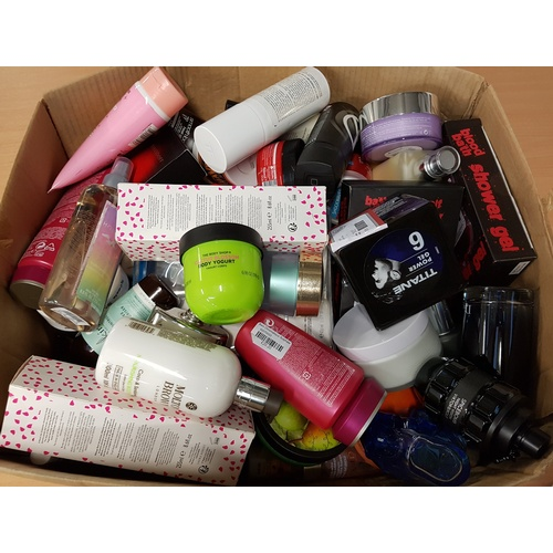 33 - ONE BOX OF USED AND NEW TOILETRY ITEMS including: VIKTOR & ROLF; DIOR SAUVAGE; CLINIQUE; BODY SHOP; ...