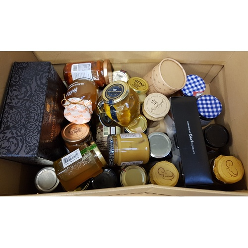 29 - ONE BOX OF CONSUMABLE ITEMS including: CONSEVERVES; HONEY; CHUTNEYS; RELISHES; JAMS; MUSTARD; ETC...