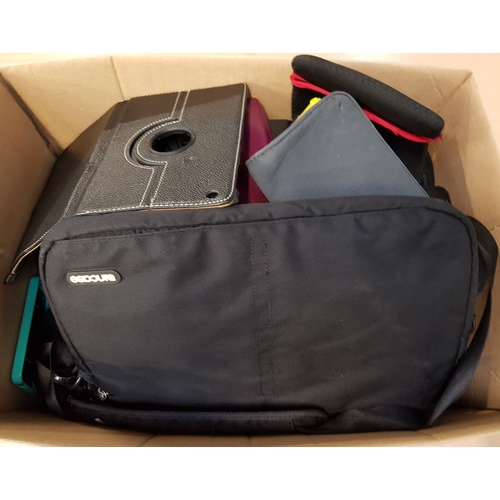 27 - ONE BOX OF PROTECTIVE CASES including: CAMERA CASE; LAPTOP CASE; PHONE CASES; TABLET CASES; ETC....