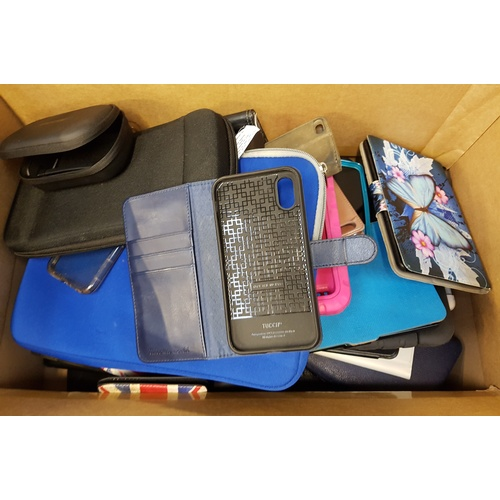 26 - ONE BOX OF PROTECTIVE CASES including: HEADPHONE CASES; TABLET CASES AND PHONE CASES....