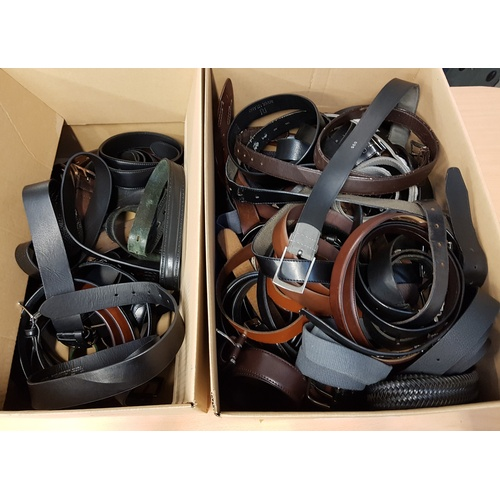 18 - TWO BOXES OF LADIES' AND GENTS'  BELTS...
