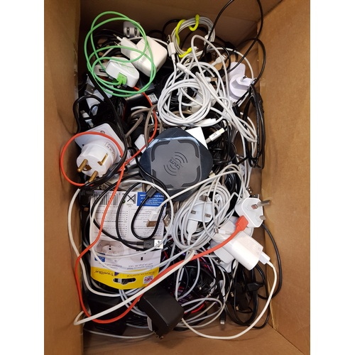 14 - ONE BOX OF CABLES, CONNECTORS AND ADAPTORS...