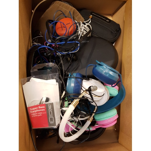 13 - ONE BOX OF CABLES, CONNECTORS, ADAPTORS AND HEADPHONES including: KITSOUND; SONY; APPLE, AXCEED; SEN...
