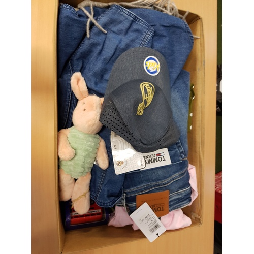 10 - ONE BOX OF NEW ITEMS including: TOMMY JEANS SCANTON SLIM SHORT; REISS RUNNER PINSTRIPE TROUSERS; REI...