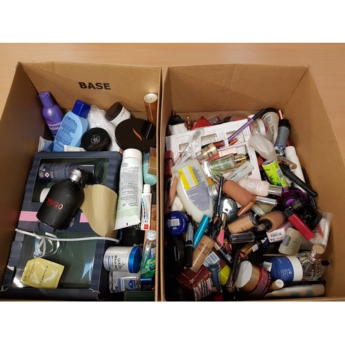 8 - TWO BOXES OF USED AND NEW TOILETRY ITEMS including: HUGO BOSS; CLARINS; OLE HENRICKSEN; NIVEA; MAC; ...