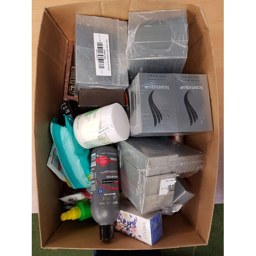 7 - ONE BOX OF USED AND NEW TOILETRY ITEMS including: CHANEL; HERMES; NIVEA; YARDLEY; CALVIN KLEIN; L'OR...