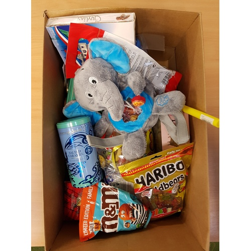 6 - ONE BOX OF CONSUMABLE ITEMS including: HARIBO; CHUPA CHUPS; GUYLIAN CHOCOLATES; DISNEY CHOCOLATE MON...