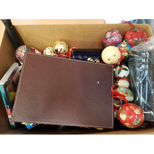 4 - ONE BOX OF MISCELLANEOUS ITEMS including: CHRISTMAS DECORATIONS; BACKGAMMON SET; SCREWDRIVER SET; TA...
