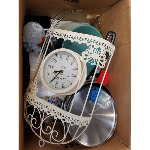 3 - ONE BOX OF MISCELLANEOUS ITEMS including: clock; cigarette case; hipflask; cooking pot; photo; souve...