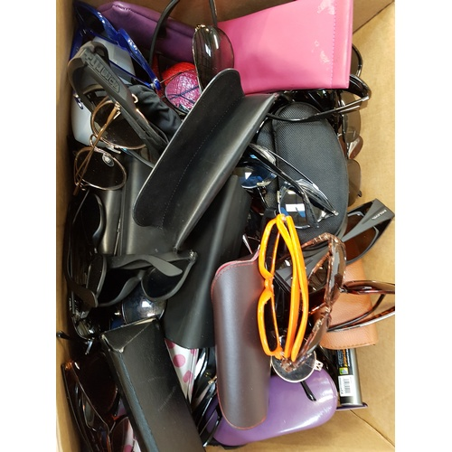 2 - ONE BOX OF BRANDED AND UNBRANDED SUNGLASSES AND SPECTACLES...