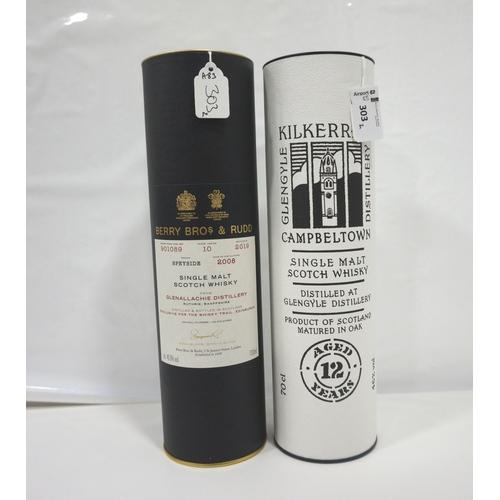 303 - TWO BOTTLES OF SINGLE MALT SCOTCH WHISKY comprising: one KILKERRAN 12 YEAR OLD SINGLE MALT SCOTCH WH...