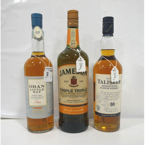 304 - THREE BOTTLES OF WHISKY comprising: one OBAN LITTLE BAY SINGLE MALT SCOTCH WHISKY (70cl/ 43% abv); o...