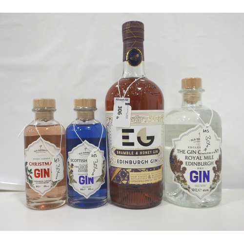 306 - FOUR BOTTLES OF GIN comprising: one EDINBURGH GIN BRAMBLE & HONEY GIN (70cl/ 40% abv); one OLD CURIO...