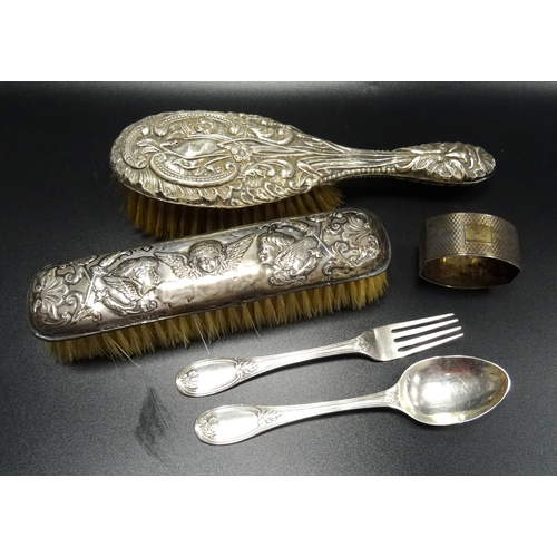 110 - SELECTION OF SILVER ITEMS comprising a silver backed Art Nouveau hairbrush with embossed scroll and ...