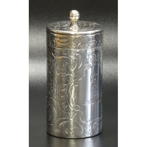 115 - VICTORIAN SILVER TOOTHPICK HOLDER AND COVER with stylised peacock to one side and cartouche with cen...