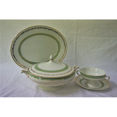 132 - SIMPSONS LTD. DINNER SERVICE decorated in the Greenwood pattern and comprising dinner plates, side p...