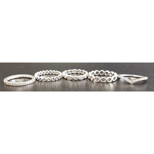 66 - FIVE PANDORA SILVER RINGS comprising Alluring Brilliant Marquise, Infinite, Linked Love, Hearts of P...