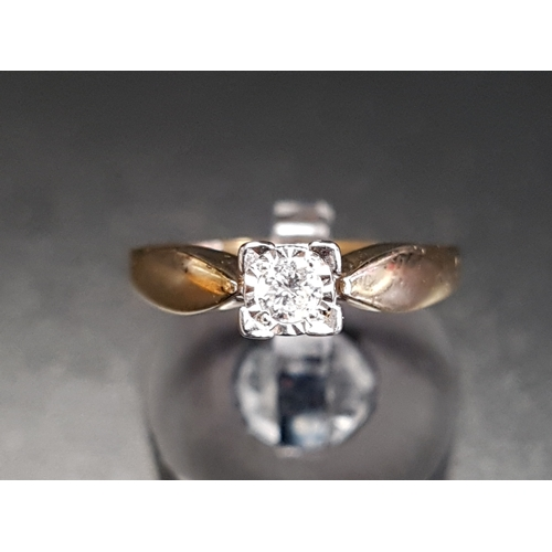 14 - DIAMOND SOLITAIRE RING the illusion set round brilliant cut diamond approximately 0.12cts, on nine c...